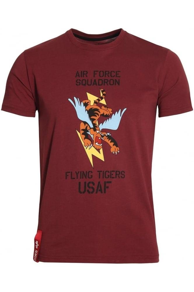 ALPHA INDUSTRIES Flying Tiger T-Shirt Burgundy