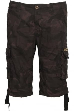 Jet Black Camo Cargo Shorts