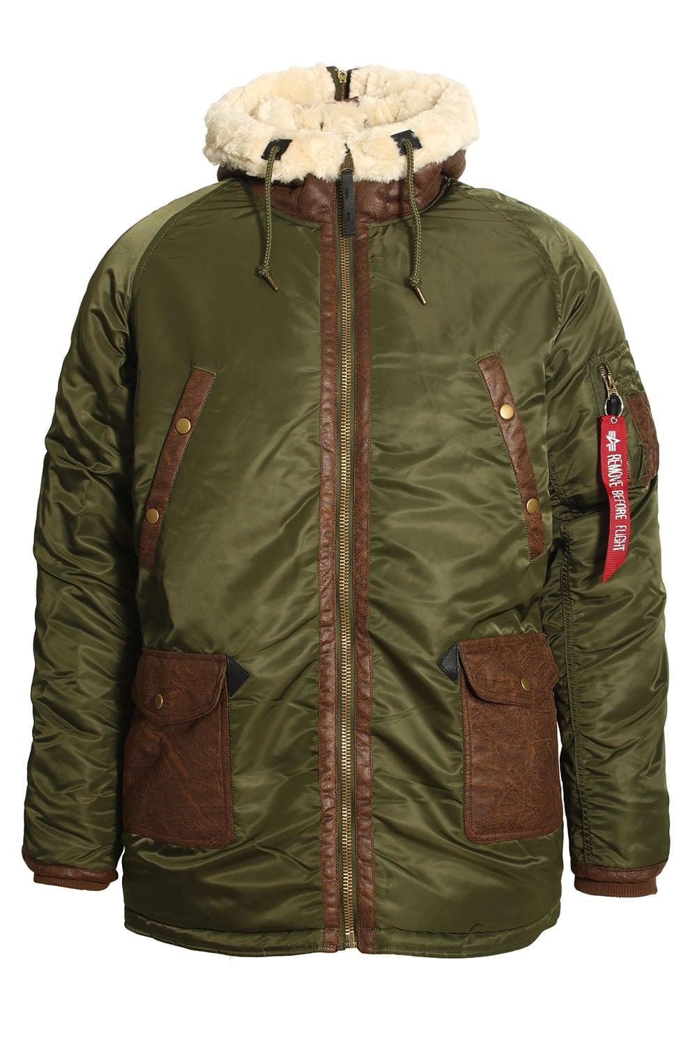 alpha industries n3 b3 dark green parka jacket shop men. Black Bedroom Furniture Sets. Home Design Ideas