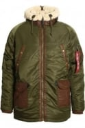ALPHA INDUSTRIES N3-B3 Hooded Parka Jacket | Dark Green