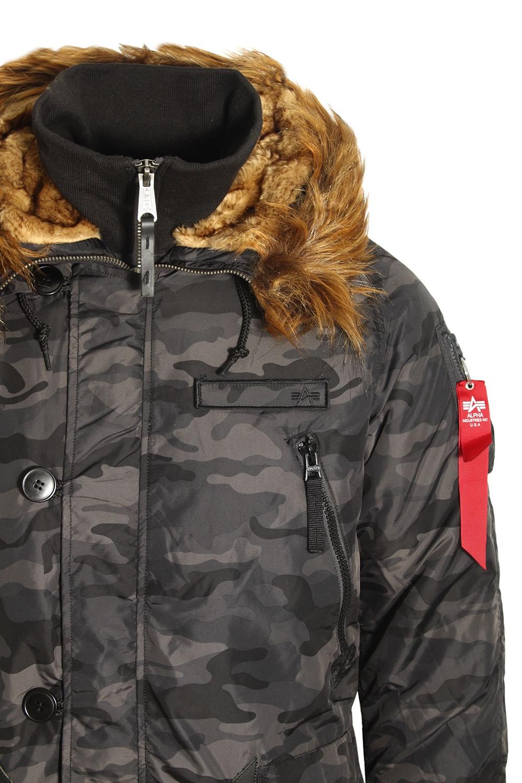 alpha industries pps n3b parka jacket black camo buy. Black Bedroom Furniture Sets. Home Design Ideas