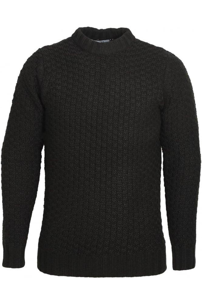 BELLFIELD Alroy Textured Knit Crew Neck Sweater | Jet Black