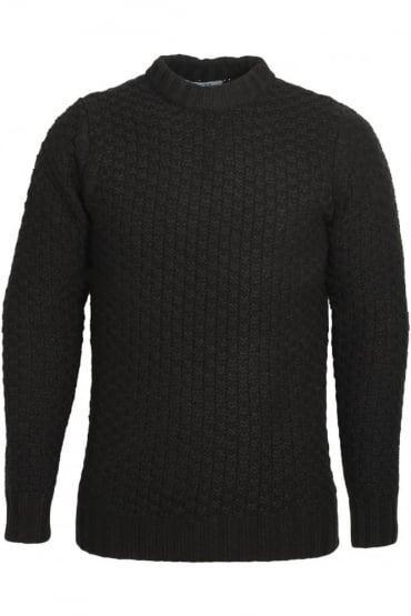 Alroy Textured Knit Crew Neck Sweater | Jet Black