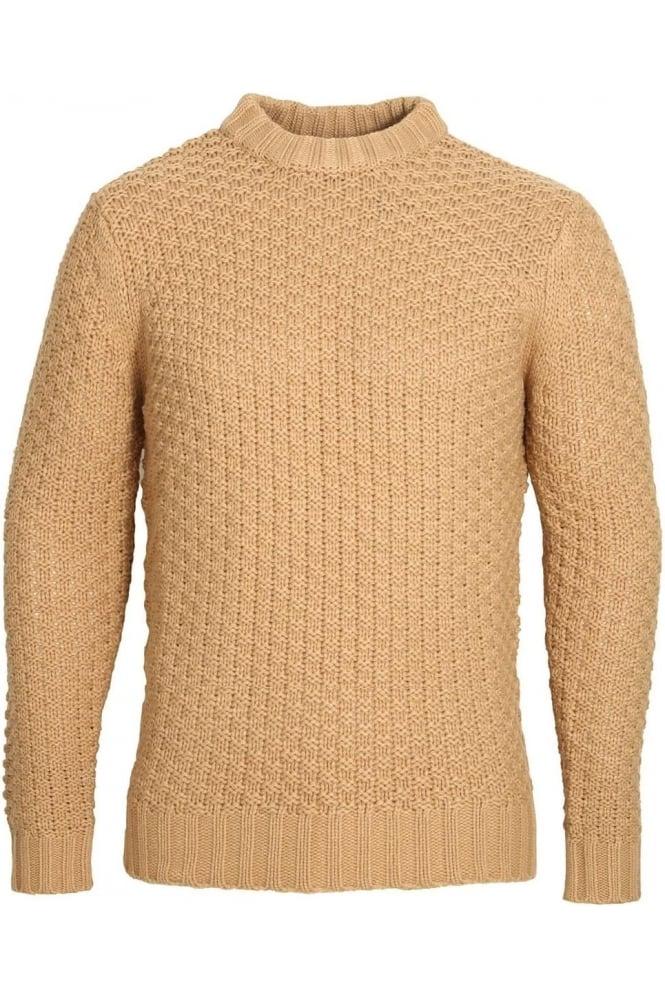 BELLFIELD Alroy Textured Knit Crew Neck Sweater   Tan