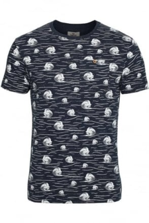 Cascade Breaking Wave Pocket T-Shirt | Navy