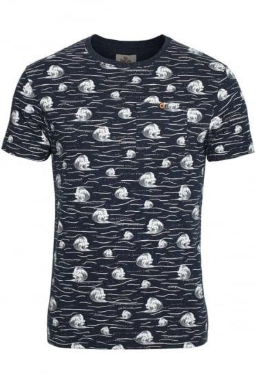 Cascade Breaking Wave Pocket T-Shirt | Navy