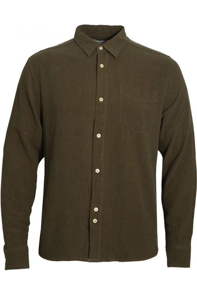 BELLFIELD Caspar Men's Sand Wash Linen Mix Shirt | Khaki