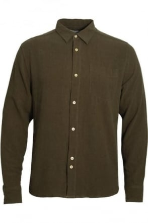 Caspar Men's Sand Wash Linen Mix Shirt | Khaki