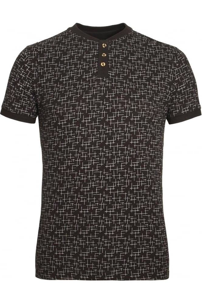 BELLFIELD Helmsdale AOP Henley T-Shirt | Charcoal