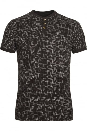 Helmsdale AOP Henley T-Shirt | Charcoal