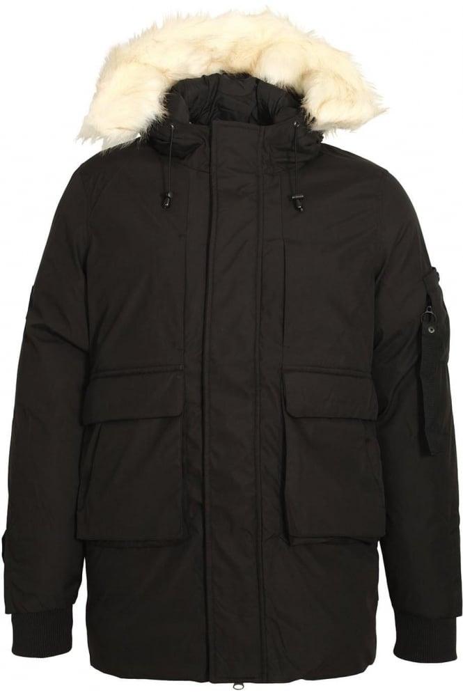 BELLFIELD Optimus Parka Jacket With Fur Trim Hood | Black