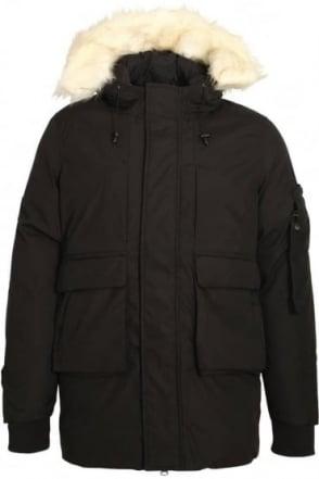 Optimus Parka Jacket With Fur Trim Hood | Black