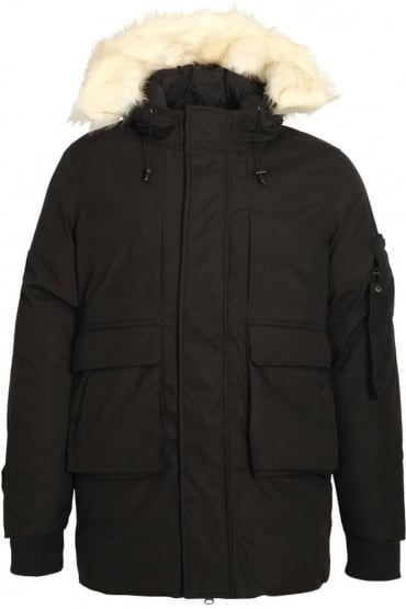 Optimus Parka Jacket With Fur Trim Hood | Black