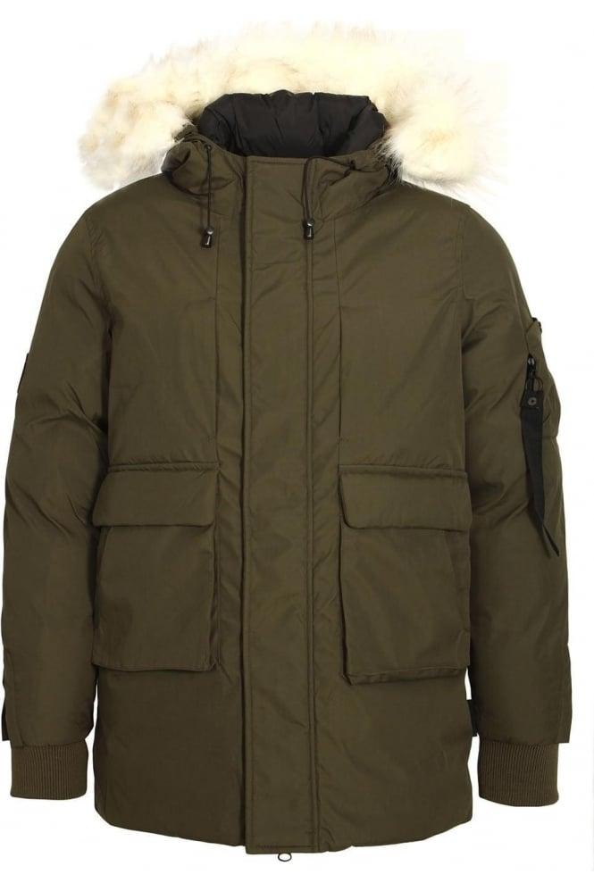 BELLFIELD Optimus Parka Jacket With Fur Trim Hood | Dark Olive