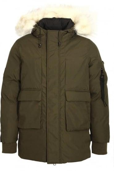 Optimus Parka Jacket With Fur Trim Hood | Dark Olive