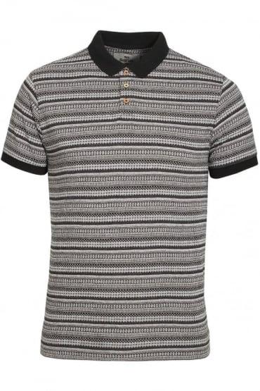 Paddy Aztec Cotton Polo Shirt | Black