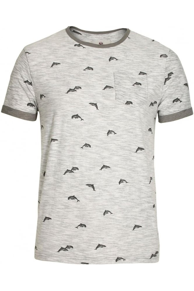 BELLFIELD Stonewell Dolphin Print Pocket T-Shirt | Grey