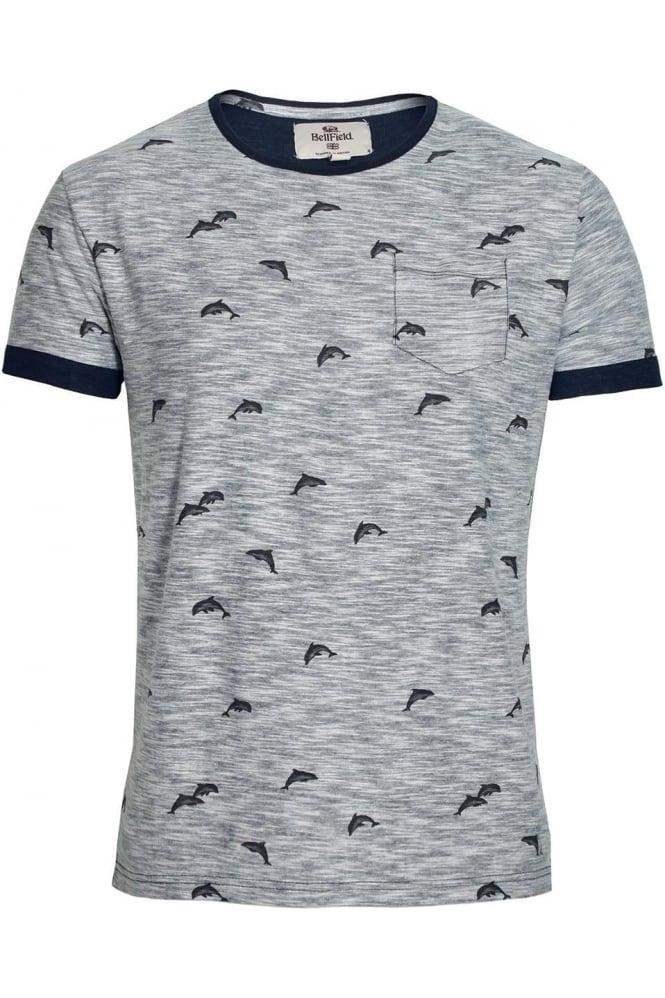BELLFIELD Stonewell Dolphin Print Pocket T-Shirt   Navy