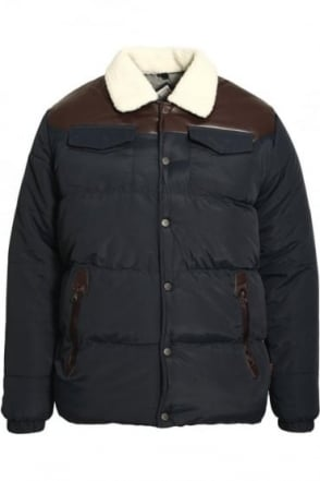 Sully Navy Men's Padded Jacket with PU Yoke