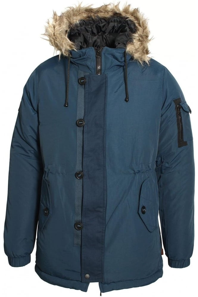 BELLFIELD Technical Fur Trim Parka Jacket | Navy