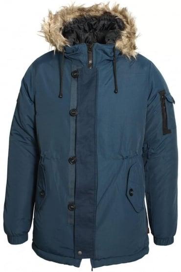 Technical Fur Trim Parka Jacket | Navy