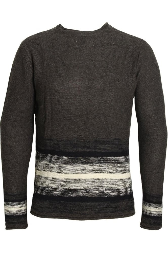 BELLFIELD Wixoe Stripe Sausage Neck Jumper | Charcoal