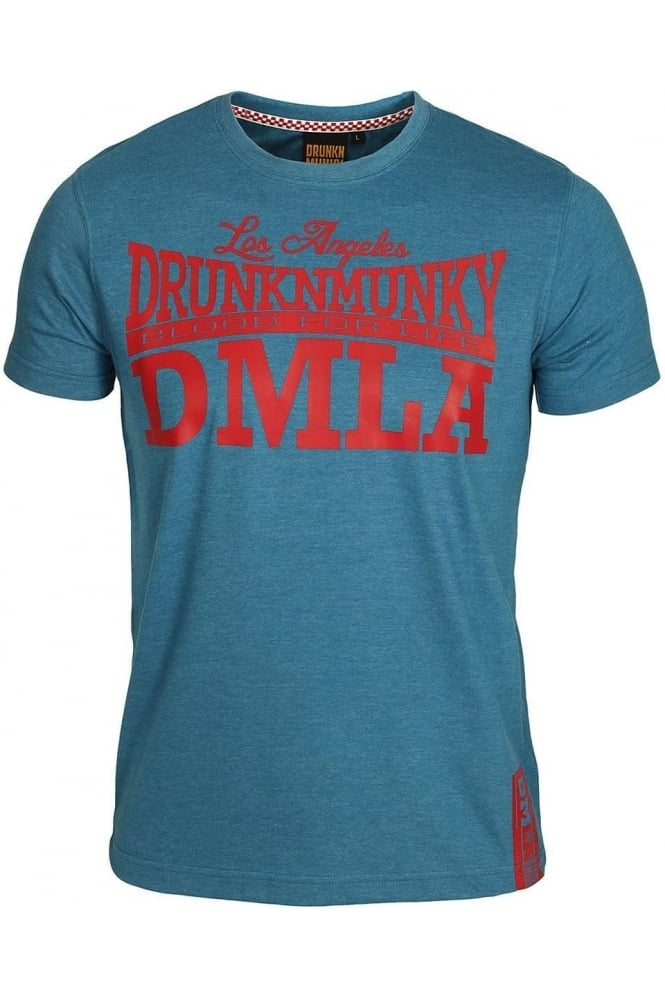 DRUNKNMUNKY Bloods T-Shirt | Blue & Charcoal