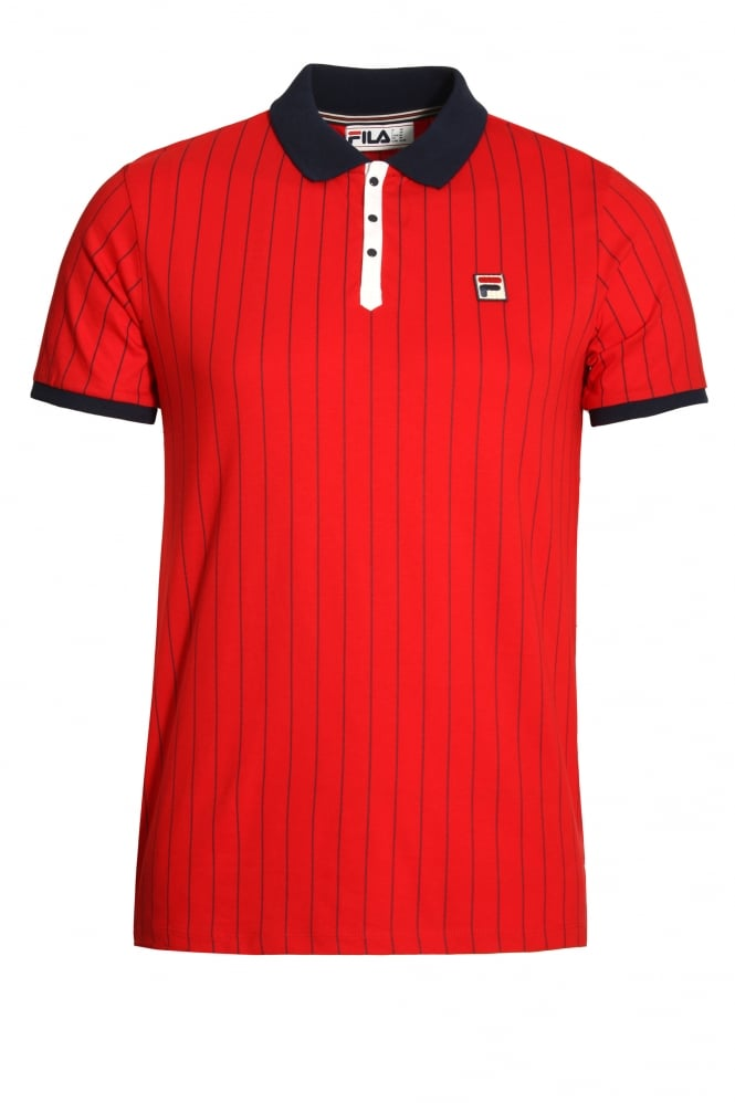 FILA VINTAGE BB1 Classic Stripe Polo Shirt Chinese Red