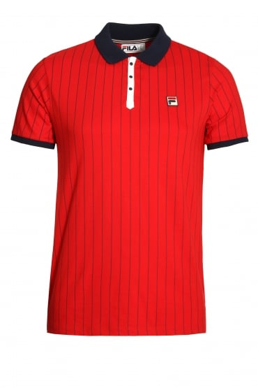 BB1 Classic Stripe Polo Shirt Chinese Red