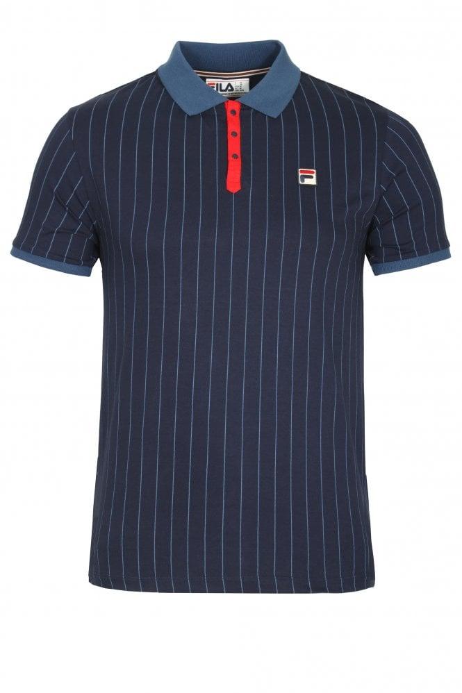 ad8216b40b228 Fila Vintage BB1 Classic Stripe Polo Shirt Peacoat | Shop Fila Polos