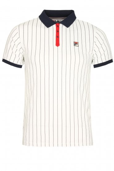 BB1 Classic Stripe Polo Shirt | White/Peacoat/Red