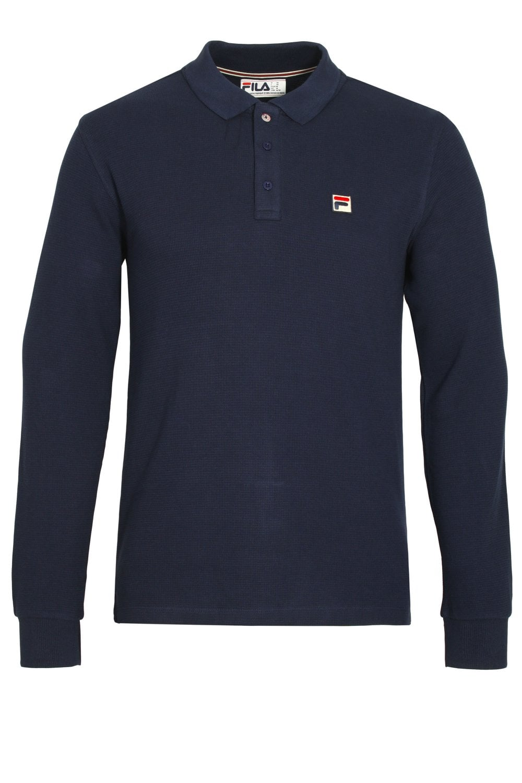 Bertoni Long Sleeve Slim Fit Polo Shirt | Peacoat