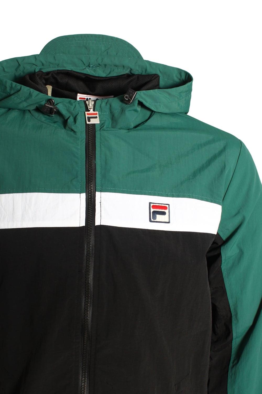 FILA VINTAGE Clipper Hooded Panelled Jacket Black & Green