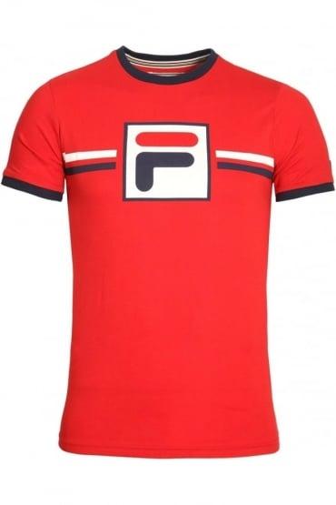 Corones Crew Neck T-Shirt | Chinese Red