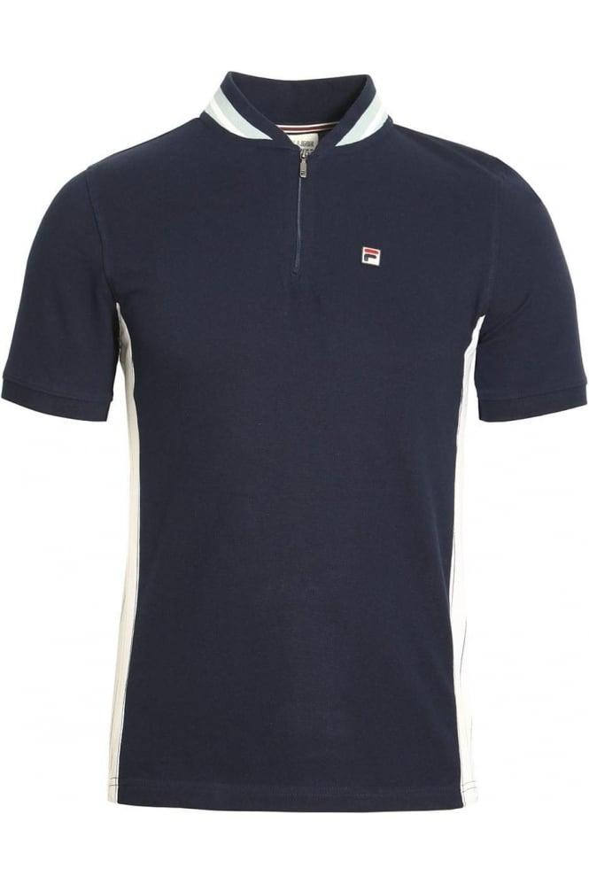 FILA VINTAGE Moretti Zip Polo Shirt Peacoat