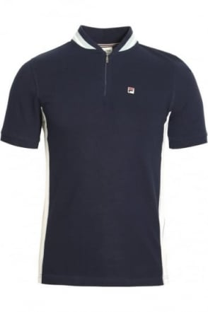 Moretti Zip Polo Shirt Peacoat