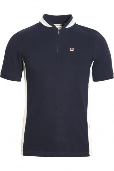 Moretti Zip Polo Shirt Peacoat