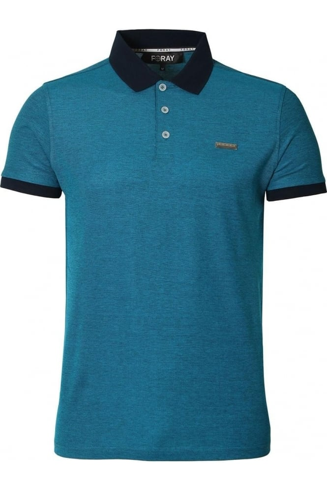 FORAY Craft Cotton Pique Polo Shirt Dress Blue