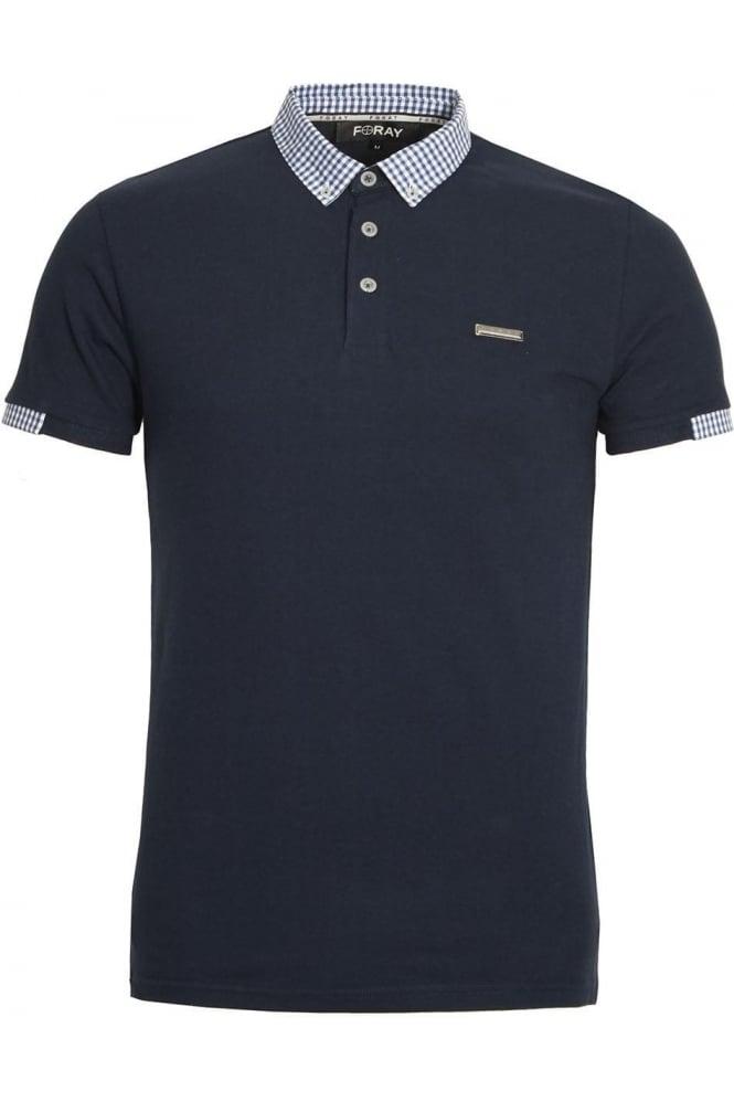 FORAY Marina Pique Cotton Polo Shirt | Navy