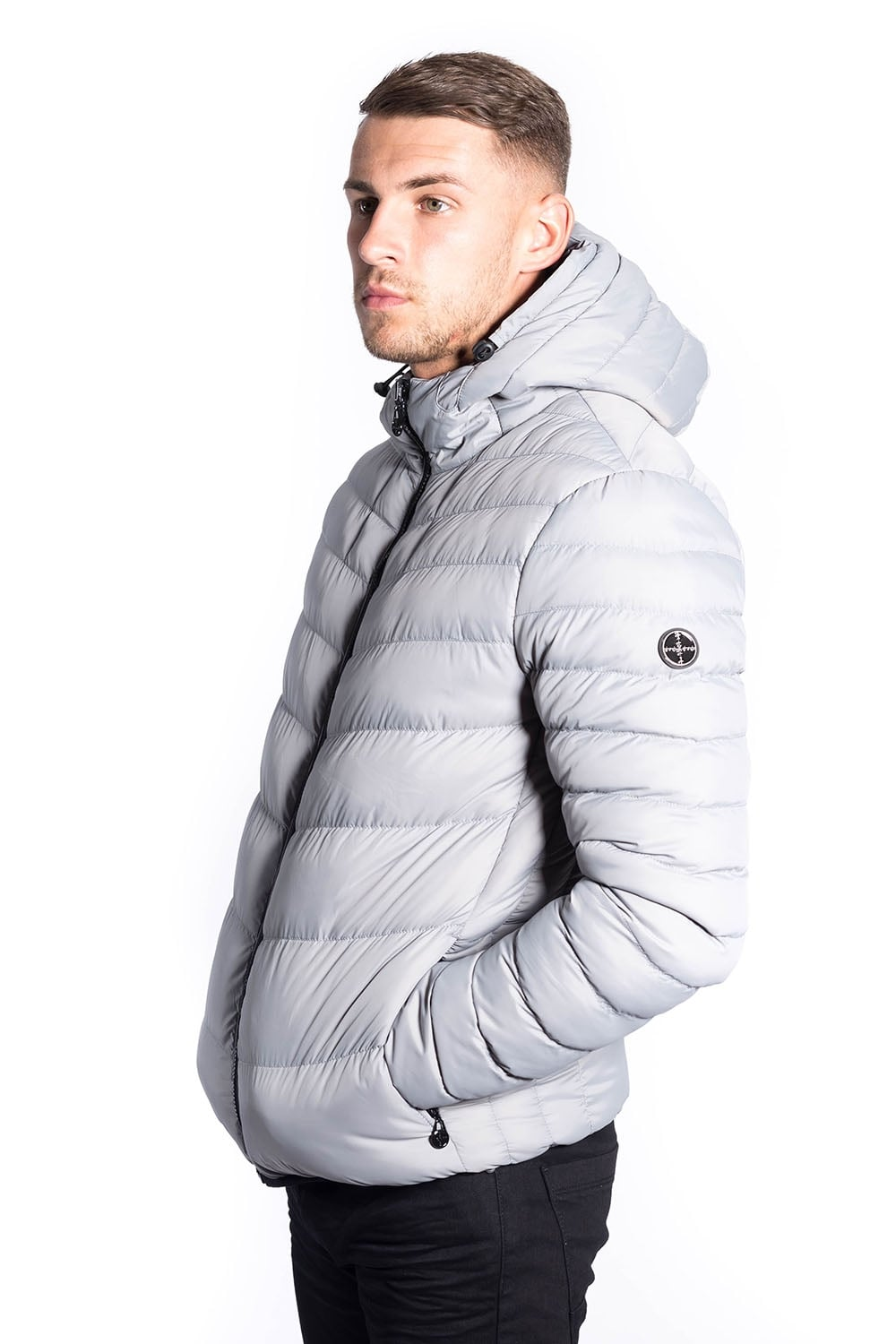 Mens Parka Jacket FORAY Neptune Quilted Reversable Parka Grey