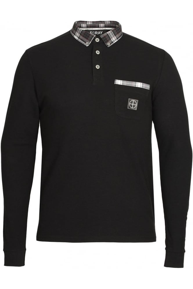 FORAY Port Long Sleeve Button Down Polo Shirt | Black