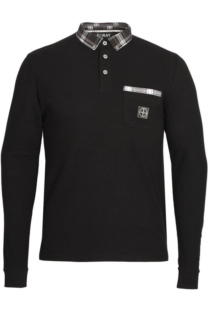 FORAY Port Long Sleeve Button Down Polo Shirt | Black
