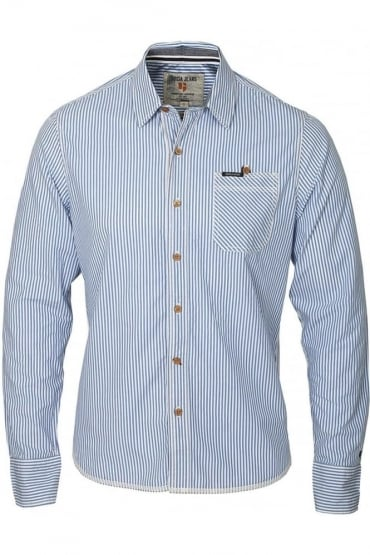 Badgley Pinstripe Shirt | Forever Blue