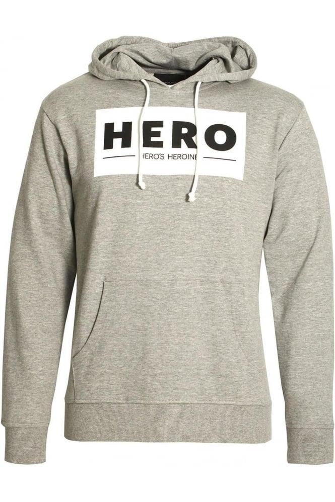 HERO'S HEROINE Block Logo Hoodie Grey Marl
