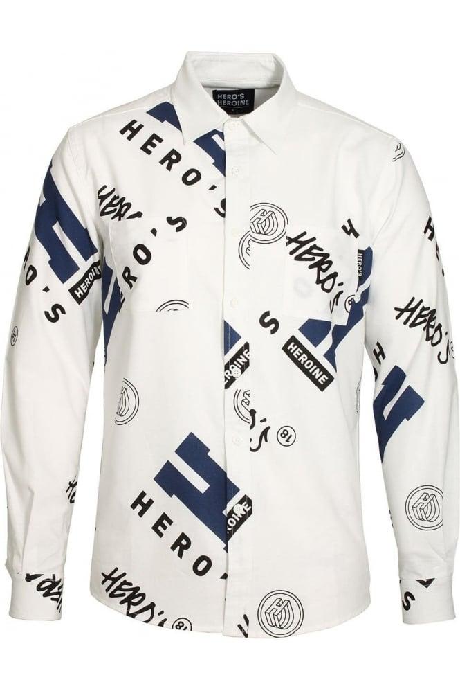 HERO'S HEROINE Button Down Graphic Print White Shirt