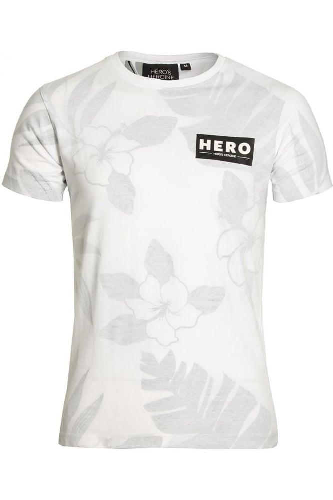 HERO'S HEROINE Fern Print T-Shirt White Grey