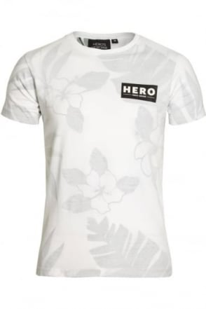 Fern Print T-Shirt White Grey
