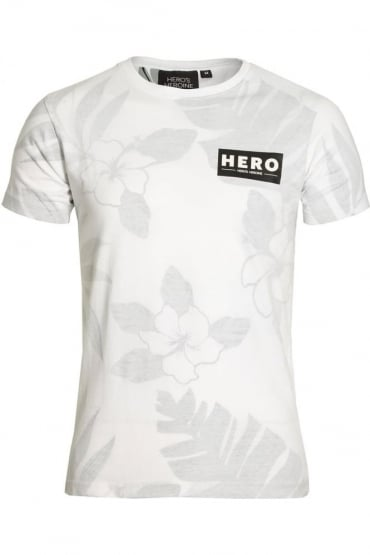 Fern Print T-Shirt White Grey