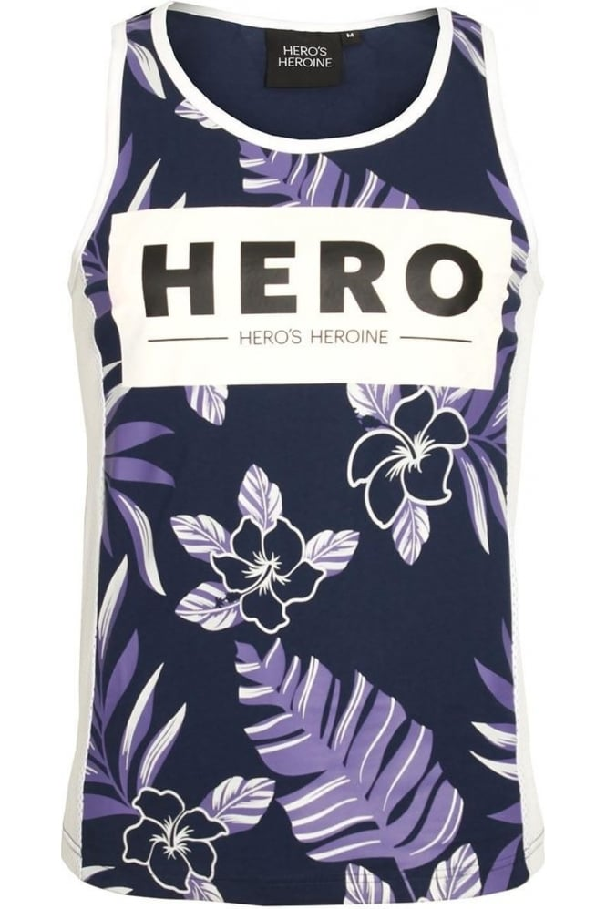 HERO'S HEROINE Fern Print Vest | Navy
