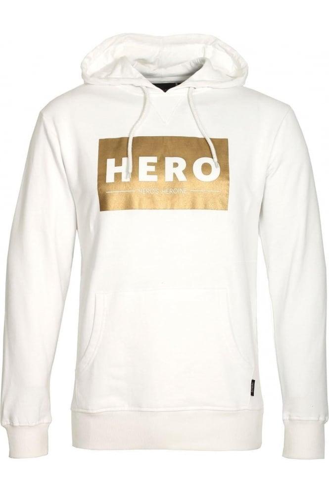 HERO'S HEROINE Gold Block White Hoodie
